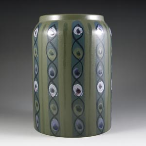 arabia finland green vase decorated with horizontal connected ellipses designed by hikka-liisa ahola