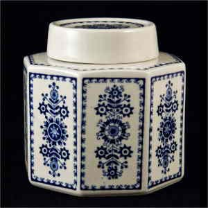 Arabia six-sided covered jar