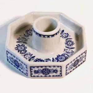 arabia finland  candleholder in blue and white