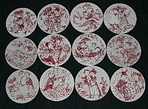Bjorn Wiinblad 12 month plates in red and white