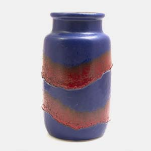 bblue & red fat lava vase