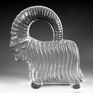 glass mountain goat in the style of Kosta Boda Zoo animals unknown manufacturer