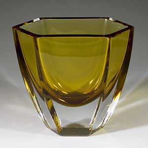 Brown cased-glass vase, unknown manufacturer but it resembles  a Strombergshyttan piece in some aspects