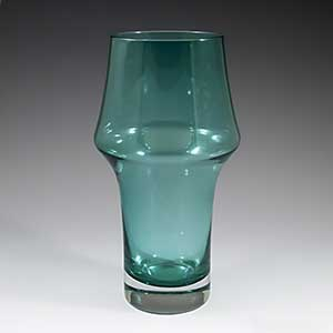 Tamara Aladin for Rhiihimaki Lasi clear bottomed blue vase