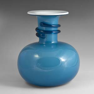 holmegaard blue napoli vase with a rounded bottom  michael bang design