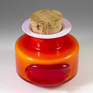 holmegaard orange red spice container