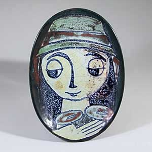 michael andersern marianne starck persia-glazed small tray with a woman's face
