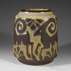 michael andersen cylindrical vase in brown and tan, featuring a  stag figure circling the vase