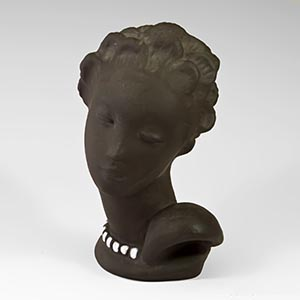 art deco bust woman's head  4012 white on raw clay