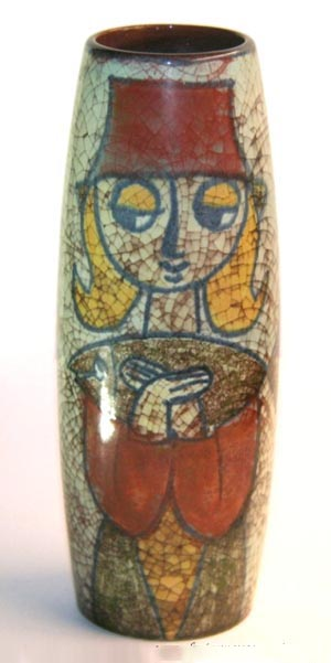 Michael Andersen & Sons, Marianne Starck Vase, Crackle Glaze, Woman's Face