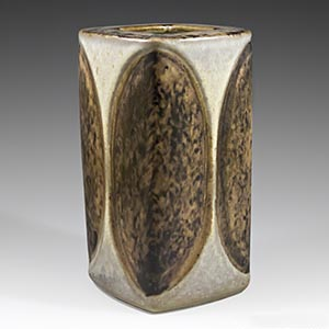 Michael Andersen & Son rounded 4-sided vase designed by Marianne Starck. Production number 6176