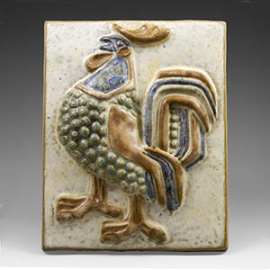 Michaela Andersen Wall Plaque featuring a rooster/cockerel. Production number 6071