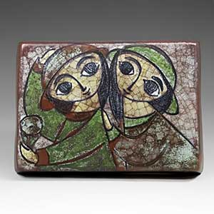 Michael Andersen wall plaque in Persia glaze, two big-eyed girls. 5441/1