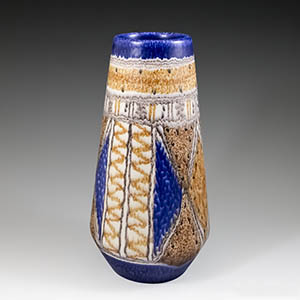 Michael Andersen & Son, medium-sized vase in orange, blue and white, production number 5751