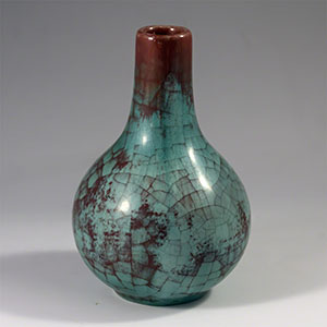 Michael Andersen & Son persia-glaze turquoise and oxblood vase 530