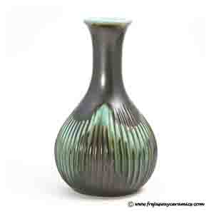michael andersen brown & turquoise vase with a grooved surface