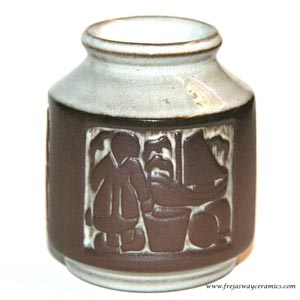 michael andersen and sons small vase depicting scenes of work inside a herring cannery