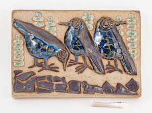 relief designed by marianne starck for michael andersen 6 son of bornholm denmark featuring 3 birds in high relief