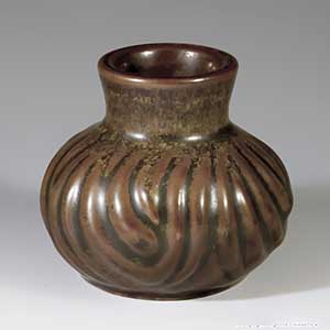 hjorth ceramic small brown cabinet vase