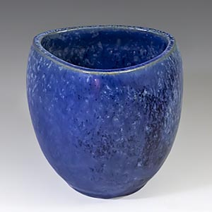 Hjorth 3-sided blue speckled vase