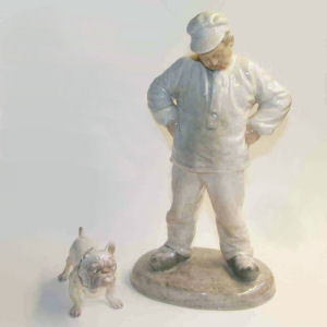 figurines by ging and grondahl, a mason and his dog