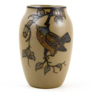 hjorth small vase with a ird and flowers