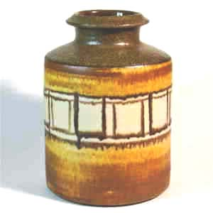 danish vase unknown manufacturer with squares circling the round vase