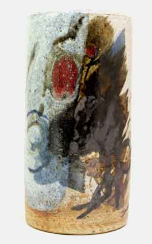 conny walter massive studio vase abstract in earth tones accented with red and blue