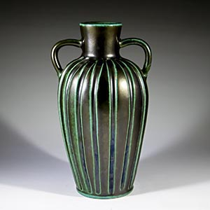 Black amphora-shaped vase decorated with green stripes by unknown manufacturer
