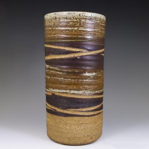 Tall banded cylinder vase by Tue Poulsen
