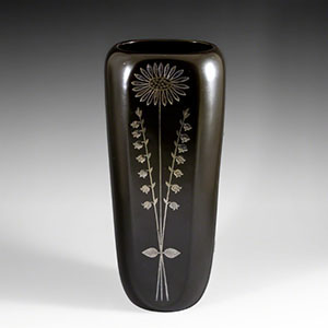 Gustavsberg Facett vase with a silver inlaid flower