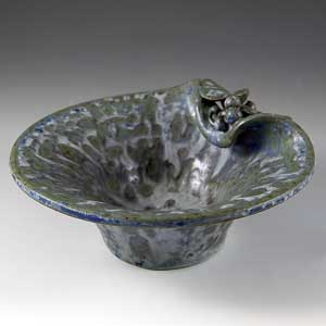 arne bang small bowl with leaf and berry decoration mottled green on a streaked grey background with touches of blue inscribed 21 on bottom