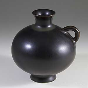 miniature vase in dark brown glaze designed by gunnar nylund for rorstrand a-268