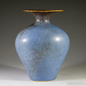gunnar nylund for rorstrand AUH vase in matte blue and brown haresfur glaze