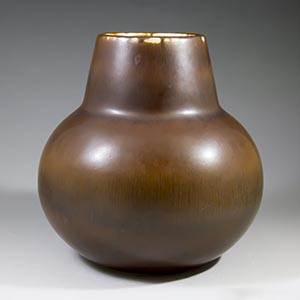 carl ahrry stalhane for rorstrand, heavy brown vase CEC