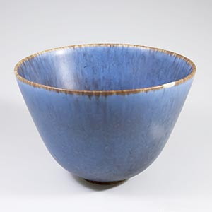 Gunnar Nylund for Rorstrand, blue ARU bowl, haresfur glaze