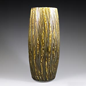 Gunnar Nylund for Rorstrand,Rubus 6 vase with a running glaze in brown and ochre.