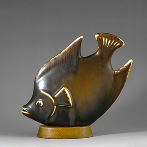 Ceramic Fish Figurine on a wooden base by Gunnay Nylund for Rorstrand