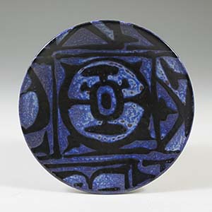 royal copenhagen small decorative dish part of Nils Thorsson's series of vases in a blue design with runic shapes
