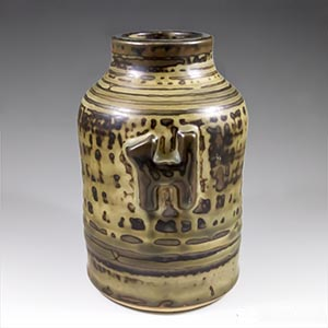 Royal Copenhagen vase by Jorgen Mogensen in Sung Glaze  with abstract cat and dog figures 21924