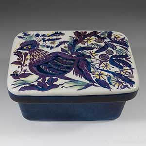 Royal Copenhagen Tenera butterdish designed by marianne Johnson, featuring an abstract bird on the lid. Production number 221 over 2882