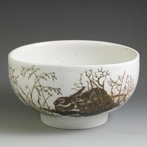 royal copenhagen diana series designed by nils thorsson bowl with a rabbit motif