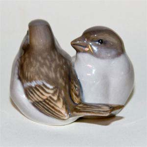 royal copenhagen pair of sparrows designed by a. nielsen number 1309