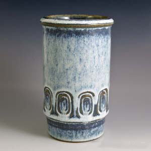 soholm blue vase designed by maria philippiinscribed geometric pattern around the bottom