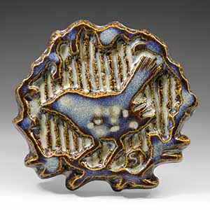 Relief /wall plaque by Svend Aage Jensen for Soholm ceramics of Bornholm, motif, a blue bird Un-numbered.