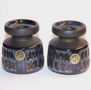 a pair of soholm blue candleholders