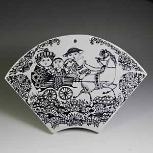 bjorn wiinblad for nymolle fan-shaped wall plate galop decor