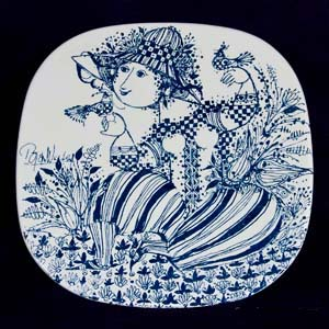 bjorn wiinblad sophie plate in blue and white